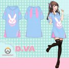 Overwatcht DVA Cute Rabbit Summer Dress T-shirt tee T Shirt Skirt Cosplay Costume