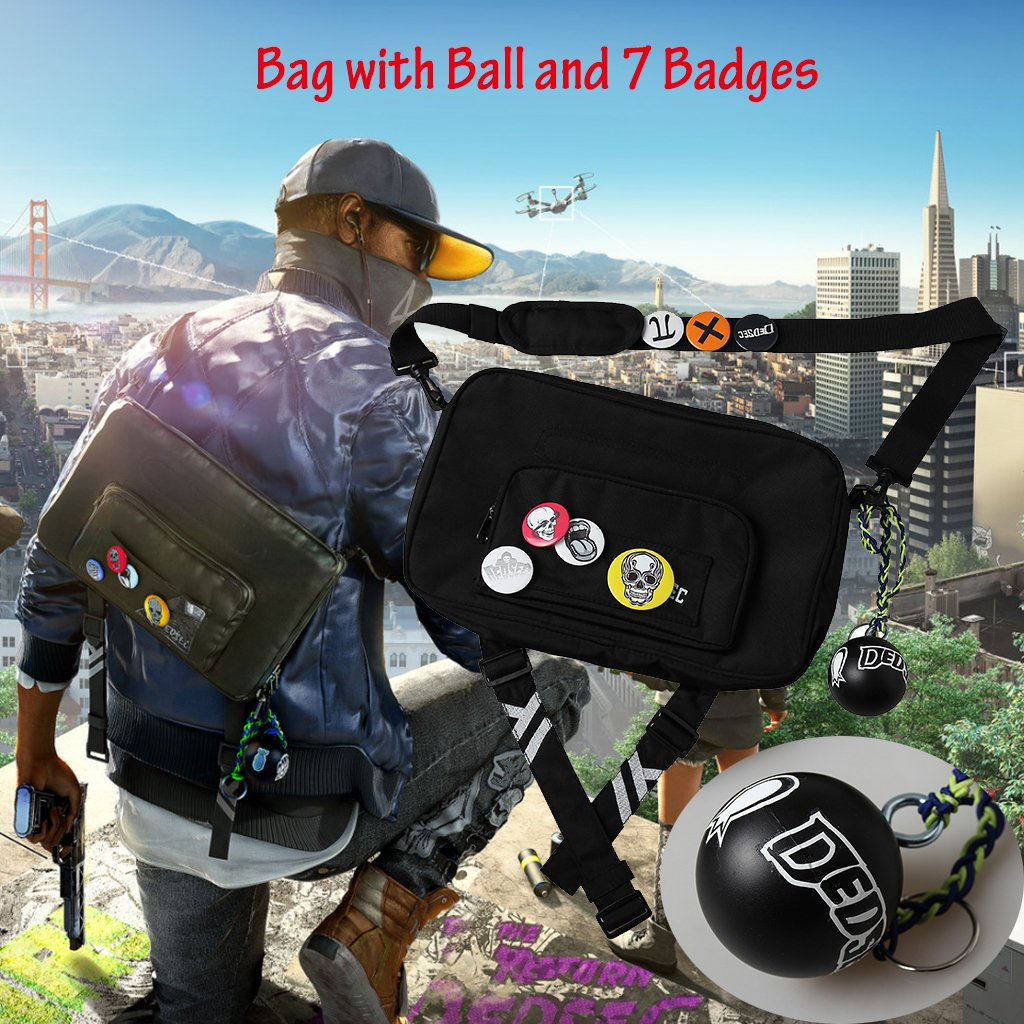Watch Dogs 2 Marcus Holloway Cosplay Bag Single-Shoulder Bag Unisex Halloween Costume Accessories