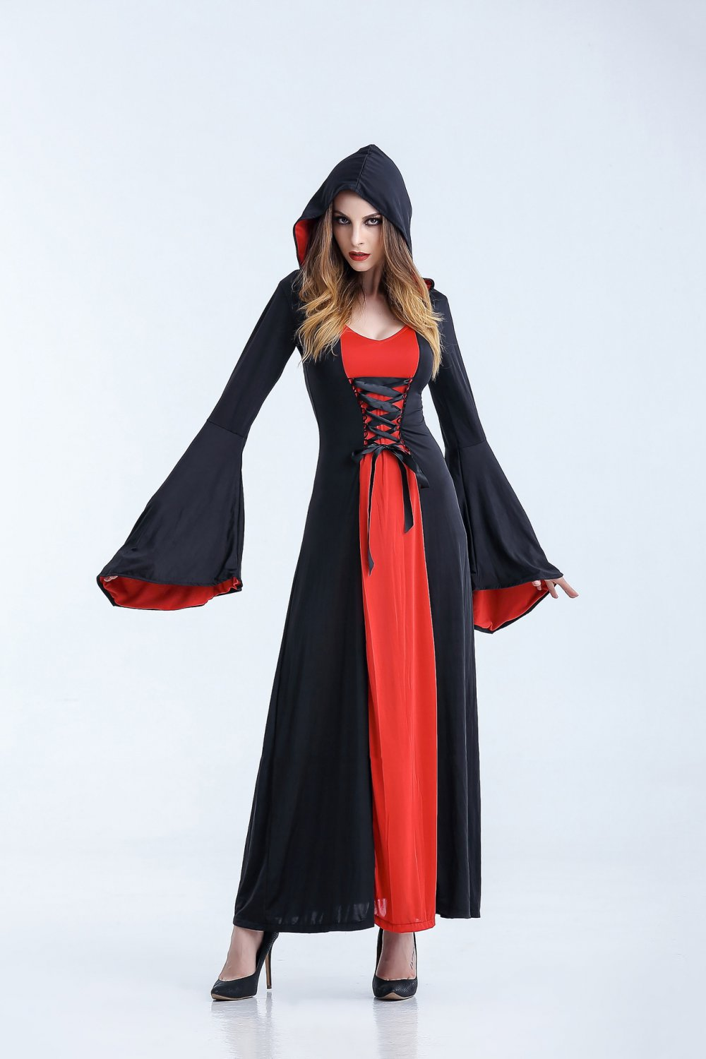 Women Medieval Dress Victorian Costume with Hoodie Halloween Vampire Cosplay Dresses