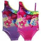 Trolls Poppy Girls Bathing Suits Swimsuit Cartoon Print Bikini Costume Bodysuit Beachwear Dress