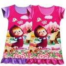 Masha and Bear Girls Dresses Kids Sleep Clothes Cartoon Baby Ropa Roupas Short Sleeve Dress