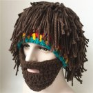 Beard Wig Hat Wool Knitted Hat Taking Pictures Funny Beard Rasta Beanie Wind Mask Knit Cap