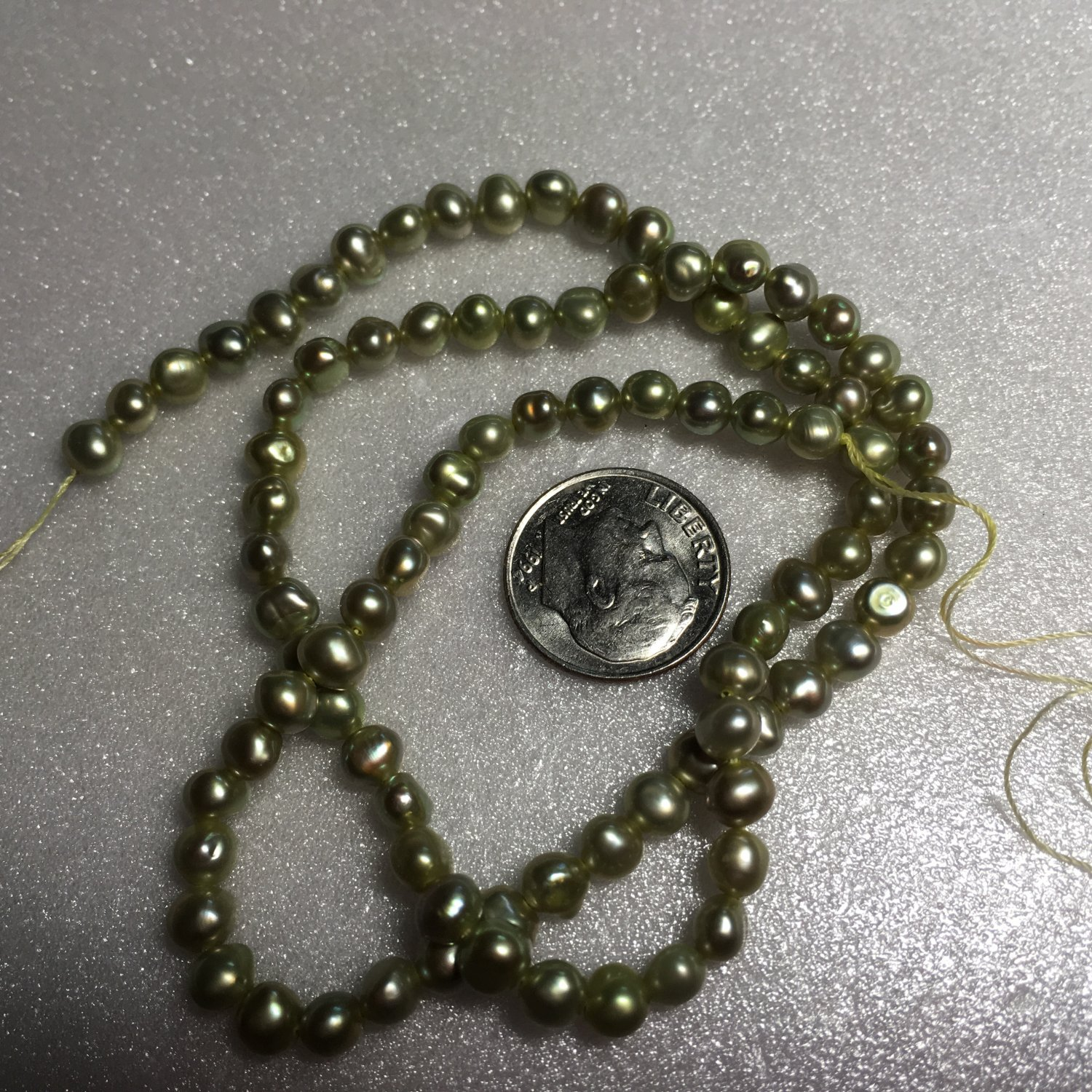 Lime Freshwater Pearl Strand #4
