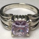 Sterling Silver Lavender Cz Ring Sz 8 #14