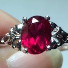 Sterling Silver 8x6mm Oval Red Cz Ring Sz 7 #13