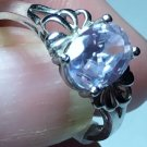 Sterling Silver 8x6mm Oval Lavender Cz Ring Sz 6 1/2-7#35