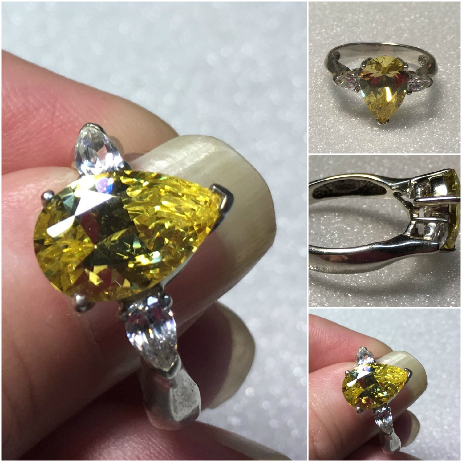 Sterling Silver Canary Yellow Cz Ring Cz 8 #7