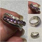 Sterling Silver Natural Amethyst Bypass Ring Sz 7 #12