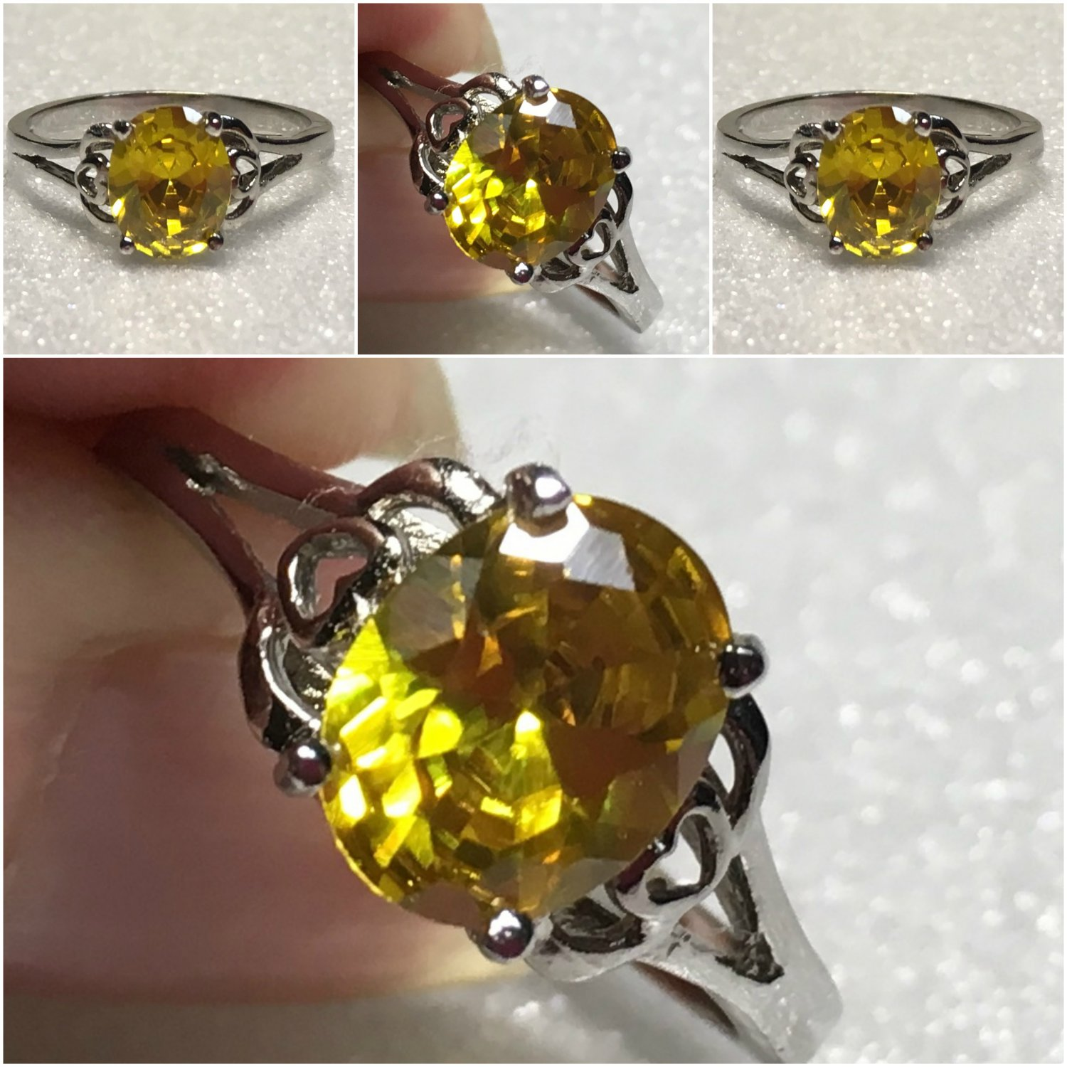 Sterling Silver 9v7mm Oval Yellow Cz Ring Sz 7-9 #2