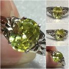 Sterling Silver 9x7mm Oval Lemon-Lime Cz Ring Sz 8-9 #3