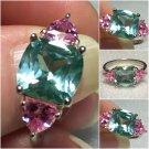 Sterling Silver Green & Pink Cz Fashion Ring Sz 7-8 #19