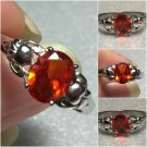 Sterling Silver 8x6mm Oval Orange Cz Ring Sz 7-8 #21