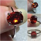 Sterling Silver 9x7mm Oval Amber/OrangeCz Ring Sz 7-8 #23