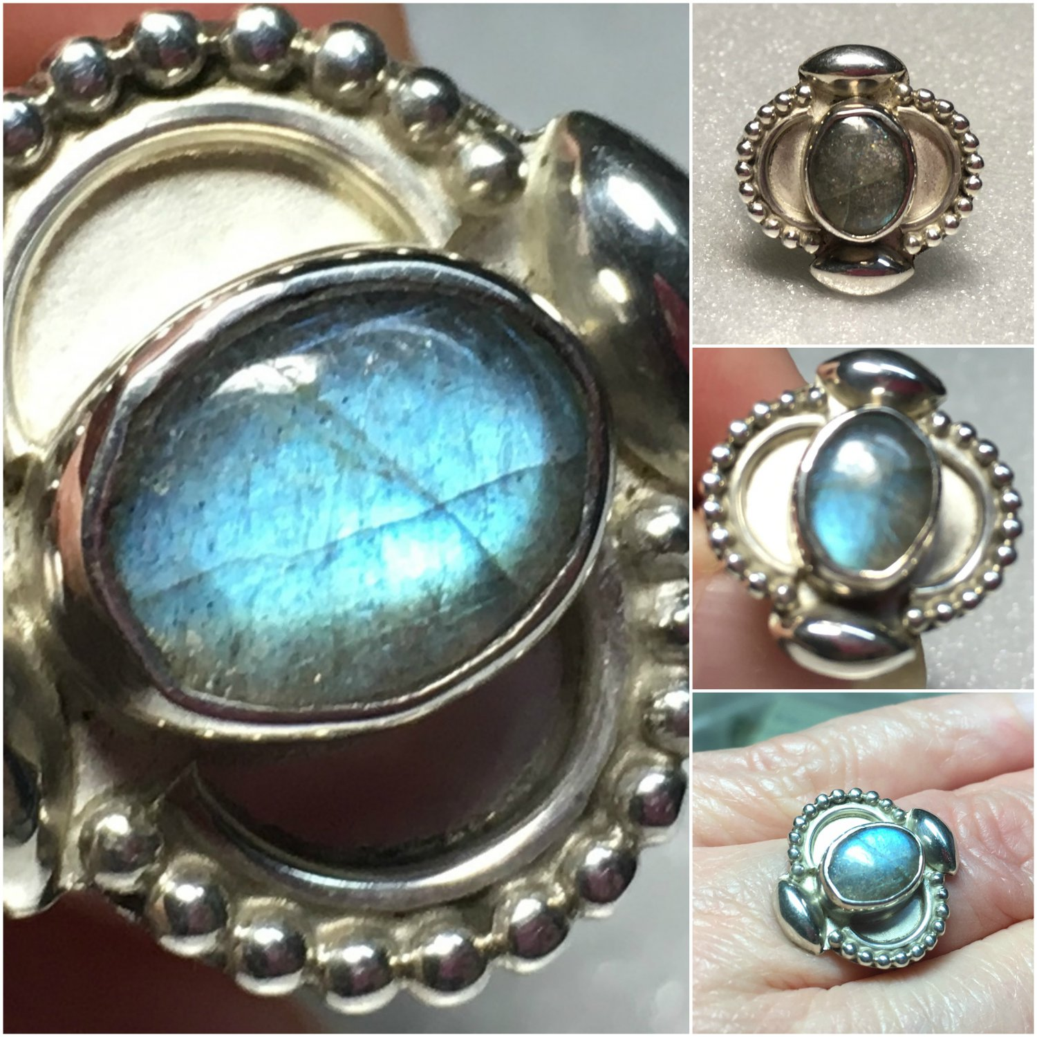 Sterling Silver Handcrafted 9x7mm Labradorite Ring Sz 7 #28