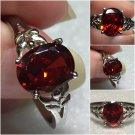 Sterling Silver 9x7mm Oval Amber/OrangeCz Ring Sz 8-9 #36