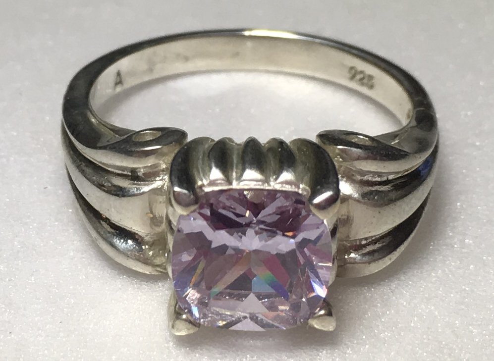 Sterling Silver Lavender Cz Ring Sz 7-8 #37