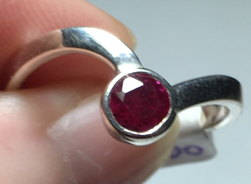 Sterling Silver Created Ruby Ring Sz 8-9 #38
