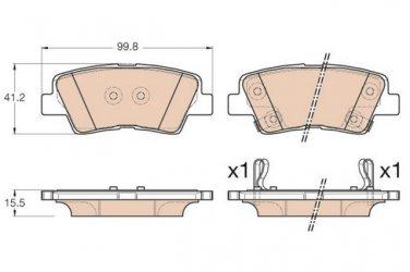 True Ceramic Top Quality Low Dust Brake Pads Fits Kia Rondo 14-15 - Rear - D1812