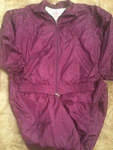 Vintage Windbreaker Small Petite Women's Purple 2 Piece Jacket Pants Windsuit Ps