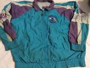 Vintage Charlotte Hornets Jacket Adult Xl Windbreaker Nylon NBA Pro Player
