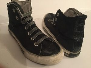 Converse All Star Girls High Top Shoes Size 4 Junior Black Glitter Silver