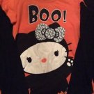 Hello Kitty Halloween Shirt Junior Size Medium 7 9 Orange Black Boo Bat Long Sle