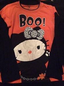 Hello Kitty Halloween Shirt Junior Size Medium 7 9 Orange Black Boo Bat Long Sle