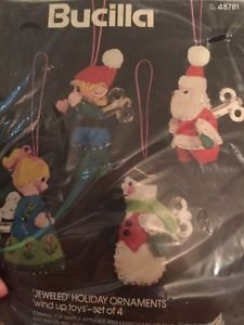 Bucilla Felt Christmas Ornaments. Kit 48781 Wind Up Toys Set Of 4 Jewel Stitched