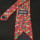Lands End Christmas Neck Tie 100% Silk Long Hand Sewn In USA Red Green Ornaments