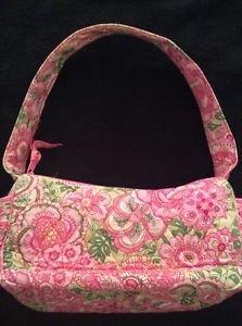Petal Pink Vera Bradley Purse Bag Handbag Pink Green Single Strap