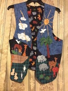 Noah's Ark Vest Womens One Size Reversible 40 Days and 40 Nights Handmade