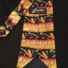 Saxophone Neck Tie Showtime Polyester Gold Red Navy Blue Music