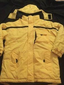 Old Navy Coat Boys Size 14 Yellow Black Heavy Winter Detachable Hood Puffer
