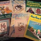 Lot Of 6 Vintage Craft Magazines Granny Squares Cross Stitch Pom Poms Church