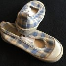 Mini Boden Shoes Size 22 Baby Toddler Girl Blue And White Checked Slip On