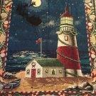 Christmas Lighthouse Tapestry Throw Blanket Fringe 47x57 Ocean Santa Night Sky
