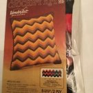 Vintage Ripple Pillow Crochet COver Kit By Wonder art Fall Colors Coral Brown