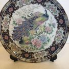 "Peacock Decorative Plate With Stand 10"" With Box Navy Blue Pink Gold White"