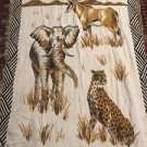 African Safari Tapestry Throw Blanket Fringe 45x65 Elephant Leopard Gazelle