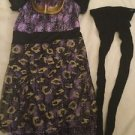 Monster High Costume Girl Size Medium Dress Mask Tights Rubies Full Purple Gold