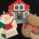 Vintage Christmas Pot Holders Santa Clause Cat Post Office