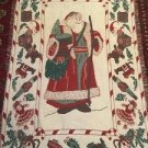 Christmas Santa Tapestry Throw Blanket Fringe 38x67 Holly Winter Clause