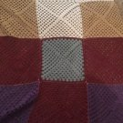 "Vintage Crocheted Afghan 62"" X 50"" Giant Granny Square Handmade Winter Colors"