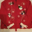 Christmas Sweater Women's Xl Extra Large Red Snowmen Zip Up Front Designs Joy