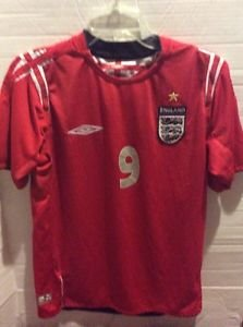 Umbro England Soccer Jersey 2006 World Cup Shirt Short Sleeve Red Small Rooney