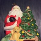 Christmas Ornament Ceramic Handpainted Flat Santa Claus With Gifts and Tree