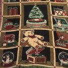 Christmas Tapestry Throw Blanket Fringe 46x54 Winter Tree Teddy Bear Jack Box