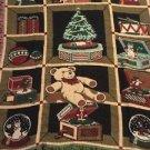 Christmas Tapestry Throw Blanket Fringe 46x54 Winter Tree Teddy Bear Jack Box