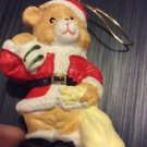 Christmas Ornament Ceramic Handpainted Santa Teddy Bear