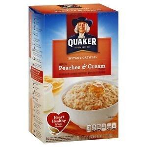 Quaker Peaches & Cream Instant Oatmeal Hot Cereal 10 Packs 1.23 Oz Individual